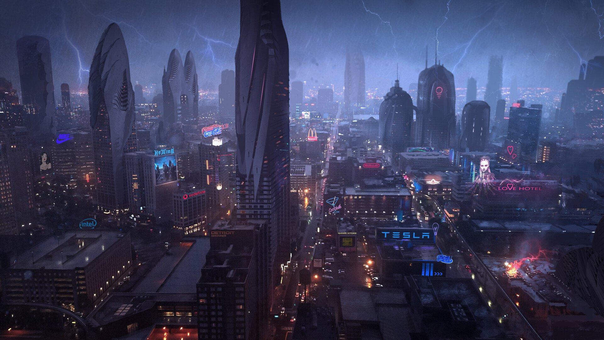炫酷城市未来 特斯拉 动漫壁纸,高清桌面电脑动漫壁纸-SSAMAO-图片资源网
