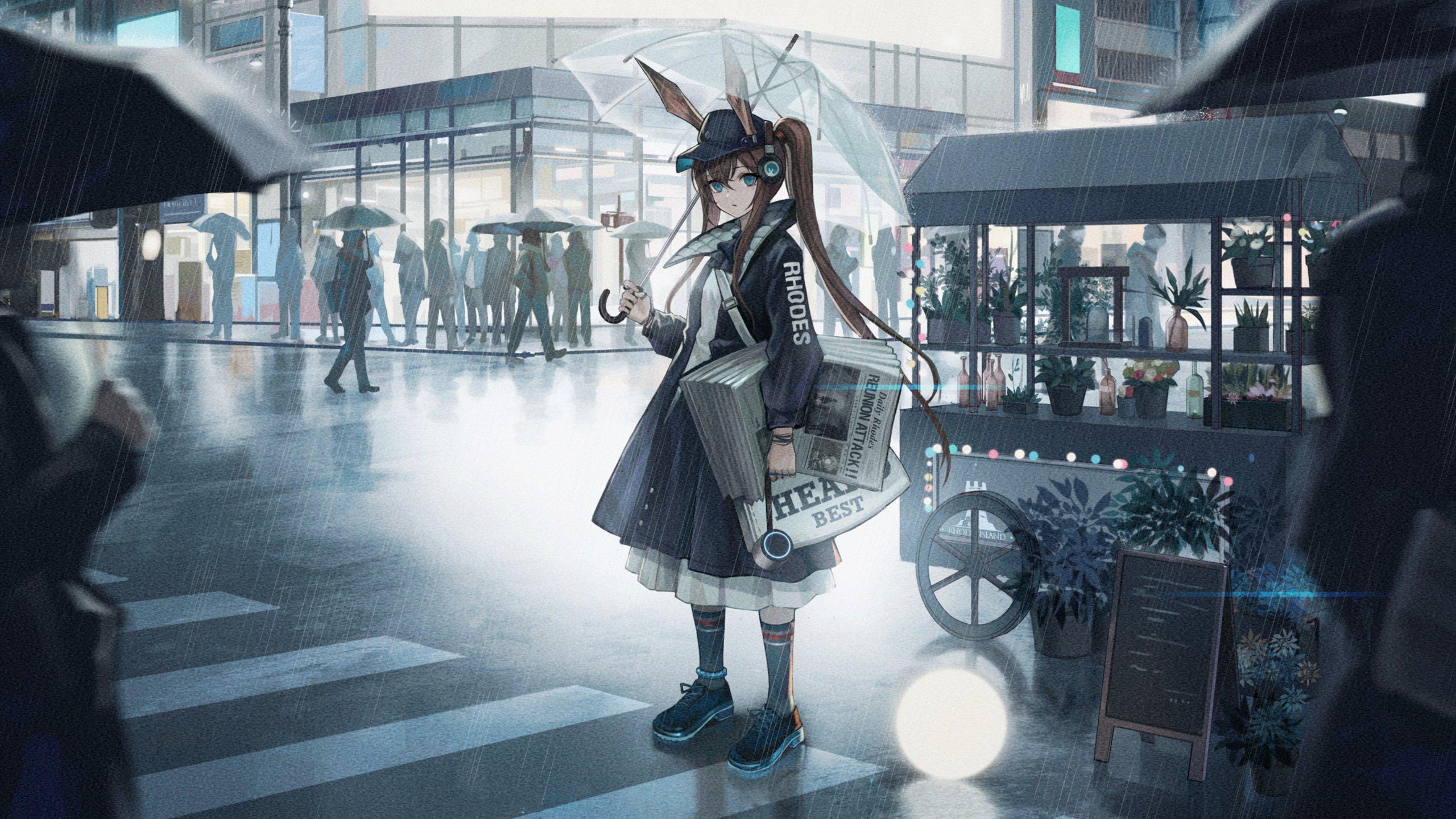雨中撑伞 带着兔耳朵 拿着报纸的女孩 高清动漫壁纸,电脑桌面动漫壁纸插图