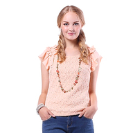 seasonwind季候风 2013新品秋装甜美蕾丝肩章修身型短袖圆领套头T恤 D8532ZC4103