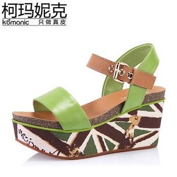 皮女鞋 防水台坡