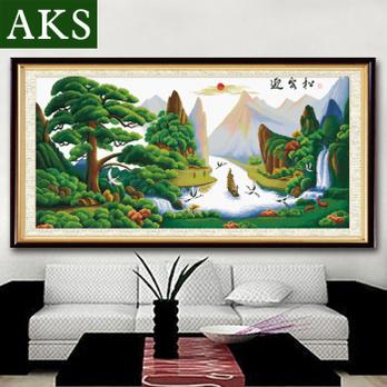 a-ks十字绣100精准印花迎客松2米最新款客厅shizixiu
