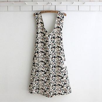 inibella 韩国风高级厨房居家夏日裙款围裙树叶图案款式