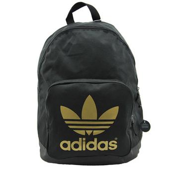 阿迪达斯adidas 三叶草聚酯纤维双肩背包z37341黑/金