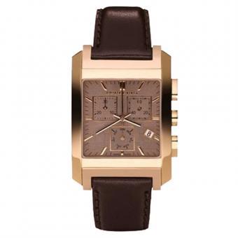 巴宝莉 棕色方形皮带石英男士腕表