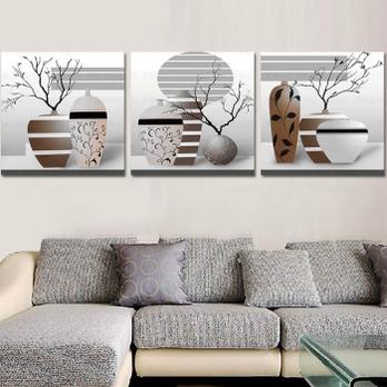 家居卧室十字绣新款客厅三联画大幅丝线精准印花3d绣