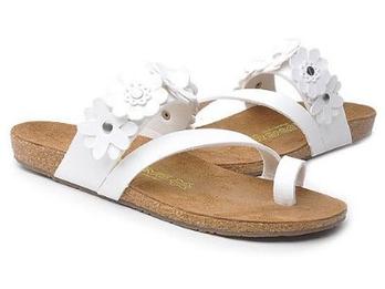 花朵装饰超纤革软木底休闲夹脚人字拖凉鞋