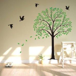 墙纸墙贴树的飞舞背景壁布墙贴贴视频电视口口戒擼图片