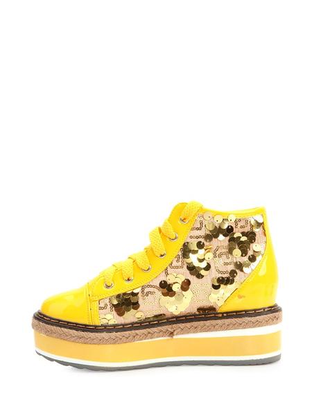 卓诗尼黄色亮片系带女士松糕鞋