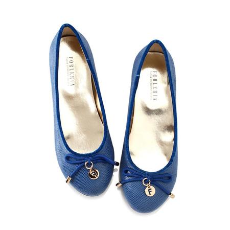 蝴蝶结圆头pu女单鞋(蓝色)