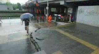 北京暴雨来袭 丰台区莲花桥积极排水