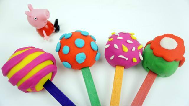 小猪佩奇培乐多橡皮泥手工 好吃的棒棒糖 彩泥 黏土 玩具