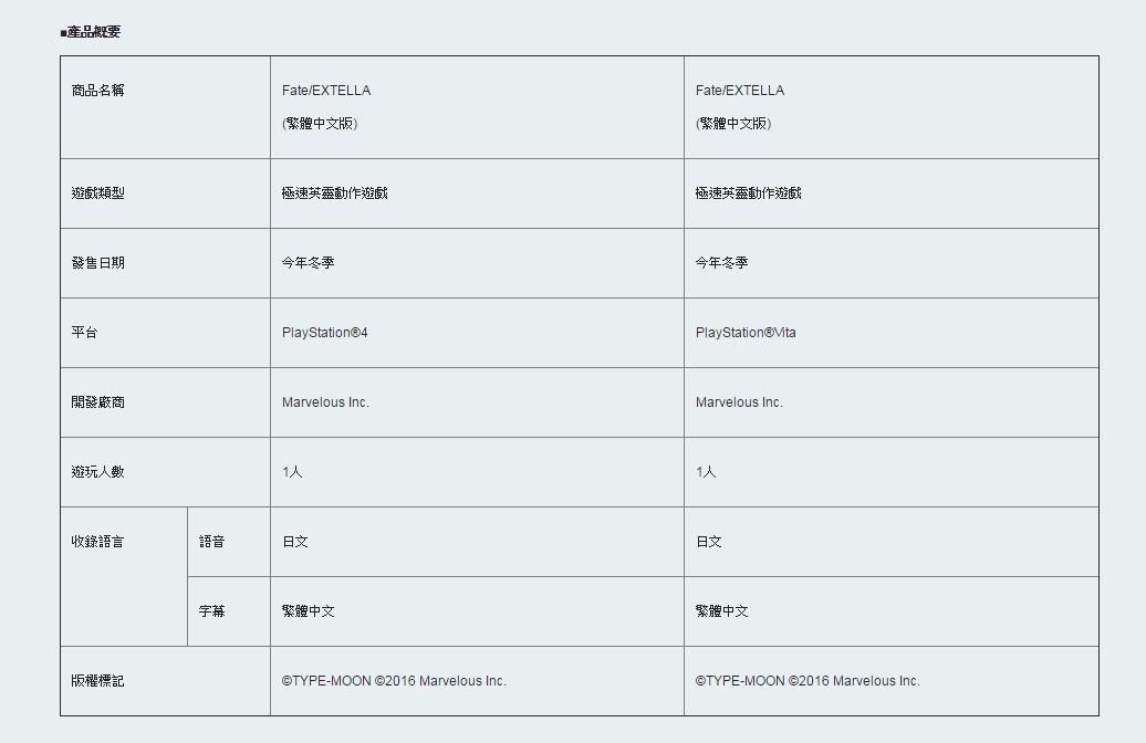 《Fate/EXTELLA》即将推出中文版