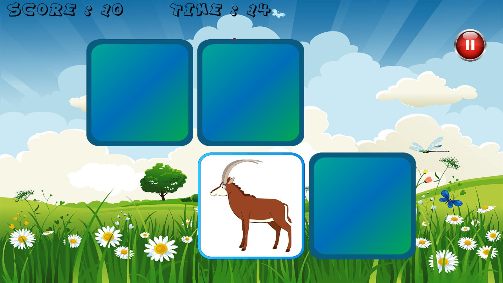 说明:动物记忆游戏是一个简单的记忆游戏的乐趣,让人上瘾并且完全免费。你必须尽可能快地找到图像对。如果您是缓慢的,这游戏不适合你!所有你的地址,你的注意力和你的速度将是必要取胜,获得三颗星。是你为这个内存呢?你是否有足够的内存?你喜欢动物吗?下载了这个记忆,你会与老虎,熊,袋鼠,狼,熊猫影像播放.