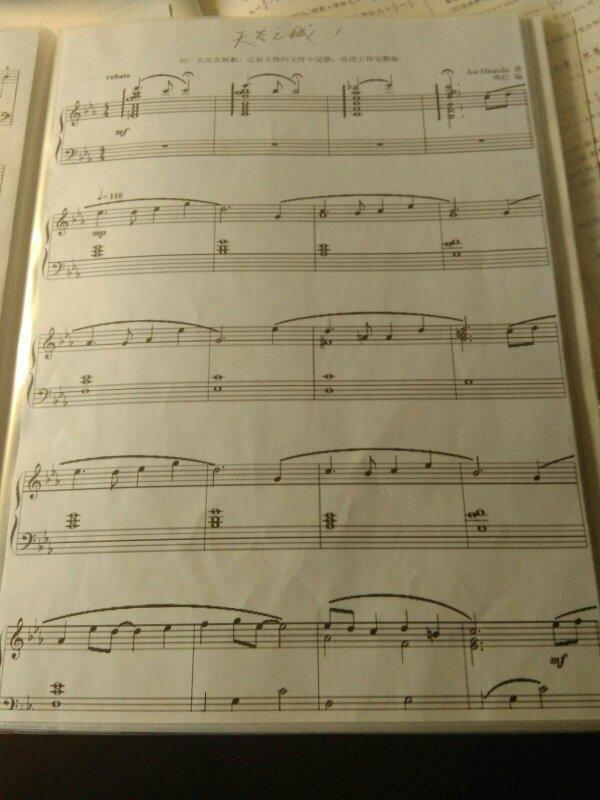 跪求久石让天空之城小号独奏的曲谱,最好是五线谱,谢谢.