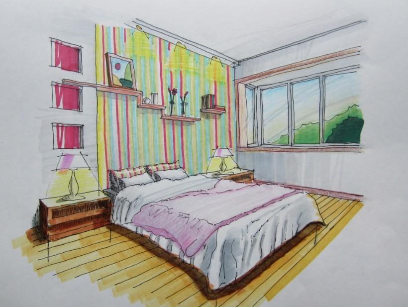 现代中式卧室手绘图