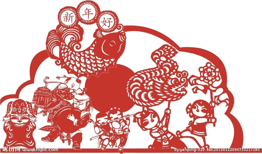 剪纸矢量图_剪纸_传统文化