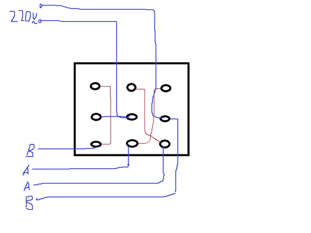 倒顺开关hy2-30控制双值电容异步电动机的实物接线图