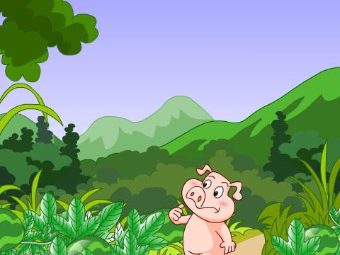 小猪吃西瓜幼儿画展示