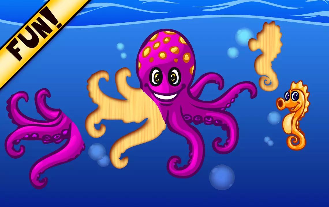可爱的海洋动物拼图促进手眼协调能力,逻辑思维能力和你的孩子的记忆