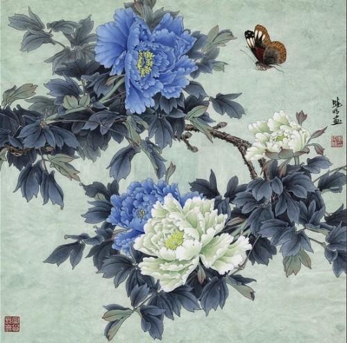 工笔蓝牡丹--李晓明工笔画视频教程