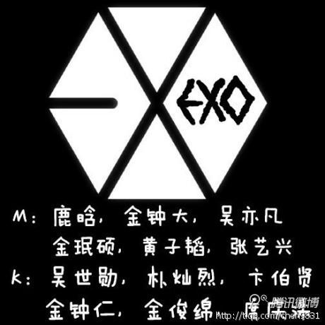exo12人照片分别加标志