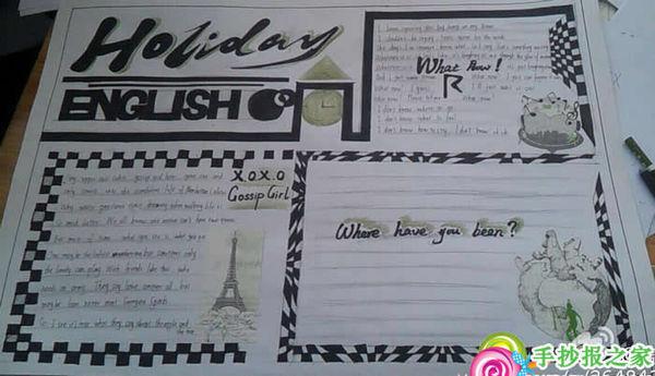 英语手抄报 彩铅画 简单又美观a3纸