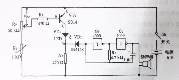 三极管的集电极电流是随温度变化的,则r2上的电压(vd2的负极)