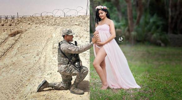 老公无法回来拍孕照 她想出这个办法