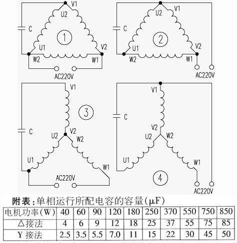 三相电机改单相运行接线图