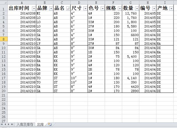 进销存工作表(入库库存,出库 两个工作表),产品