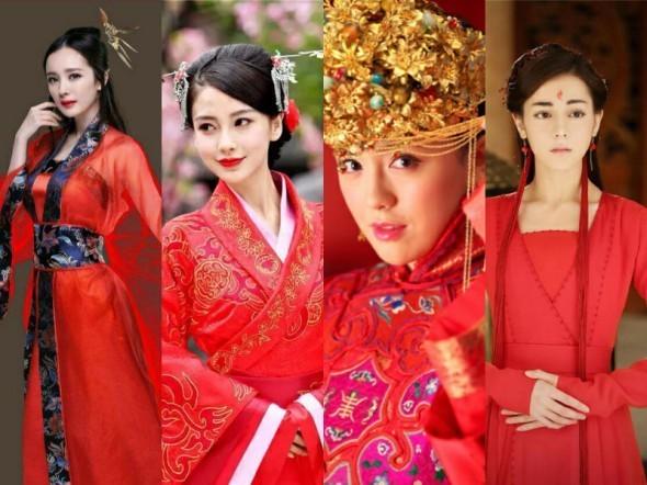 迪丽热巴的恋情尤为引人关注,而她们的一身红装也成为了古装红衣的