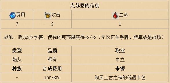 炉石传说克苏恩的信徒怎么样 克苏恩的信徒技能效果解析