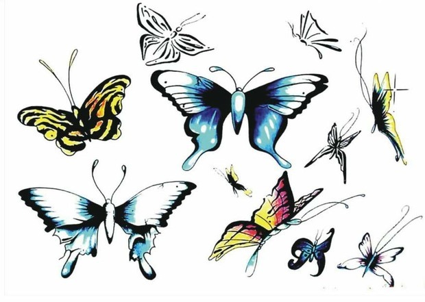 )有平面设计的蝴蝶,简笔画的蝴蝶还有油画棒的蝴蝶,各种种类的