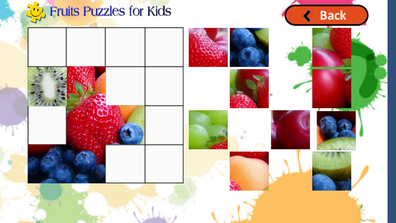 水果拼图的孩子