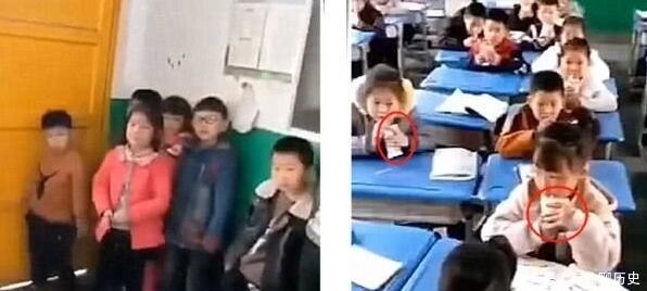 牛奶让没订民族的小学生站同学,看其他讲台喝朗读小学的我们老师图片