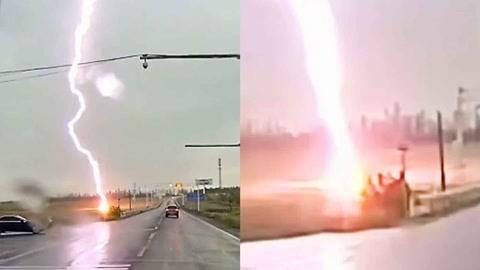 巨型闪电击中地面火花四溅冒白烟 目击者:就在百米外 又怕又激动