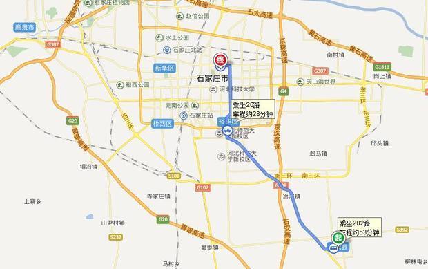 如何坐公交车从栾城汽车站到石家庄谈中街23号