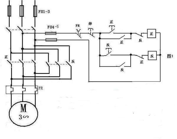 交流接触器控制 电机正反转