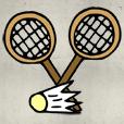 萌小人打羽毛球