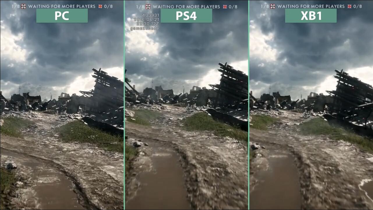 《战地1》三平台画质对比