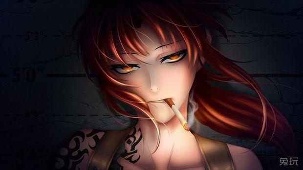 动漫女生冷酷抽烟头像