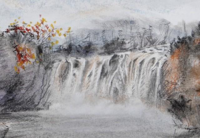 多彩素描山水画