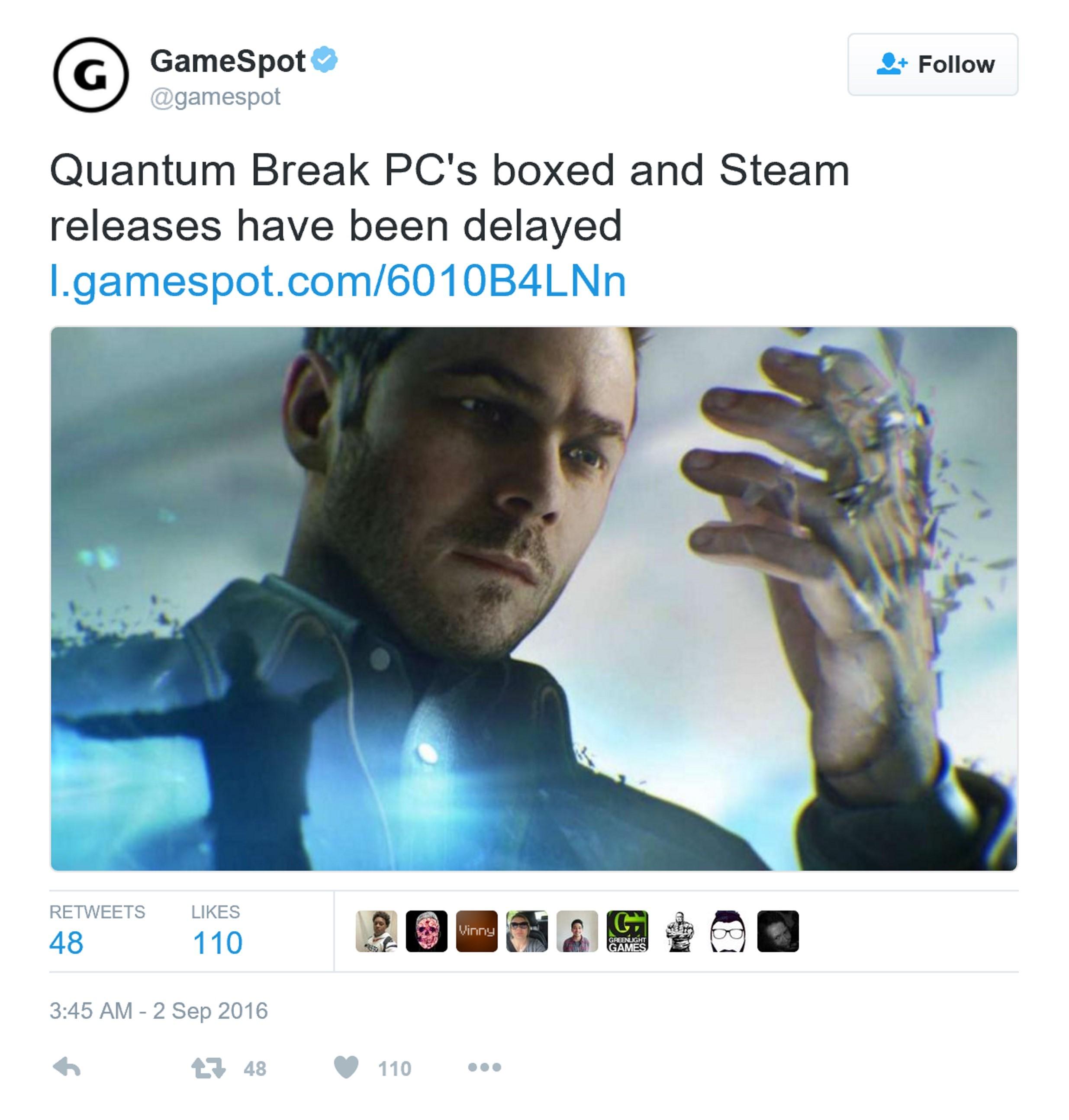 《量子破碎》Steam版宣布跳票