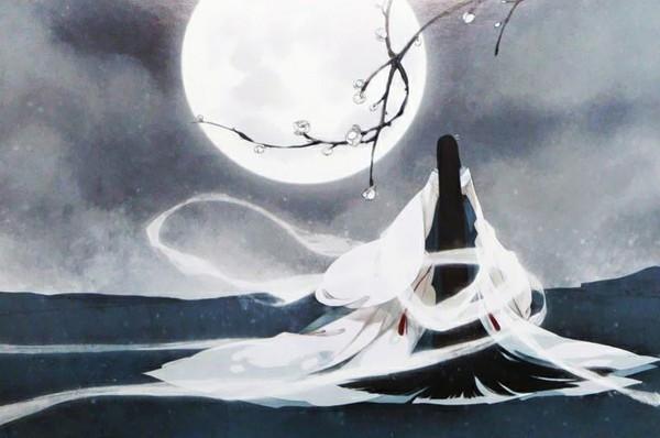 求手绘古代美女与月亮的图片