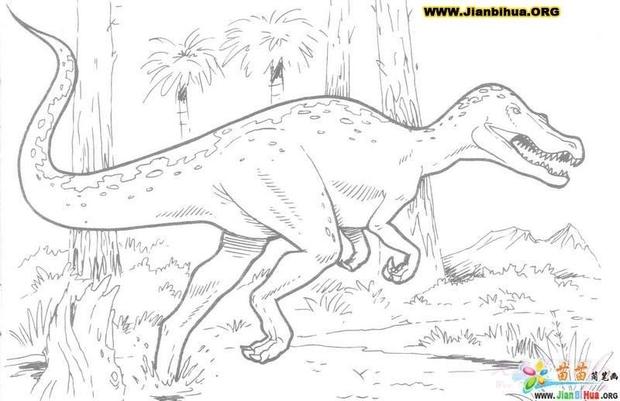 恐龙的铅笔画