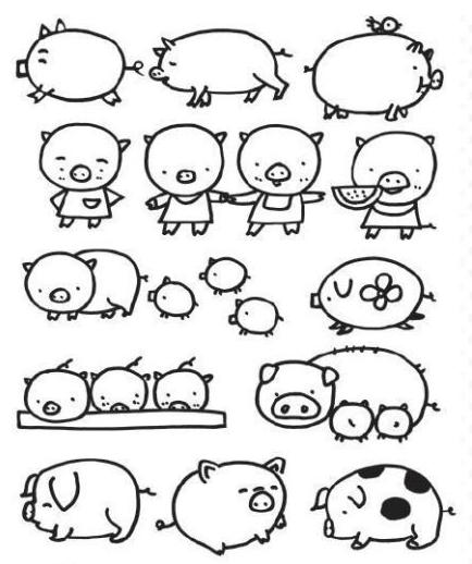 猪的简笔画怎样画的