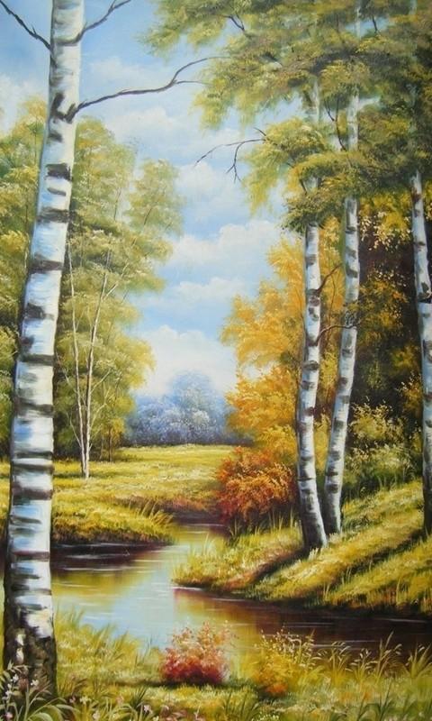 欧式竖版山水油画_欧式风景油画