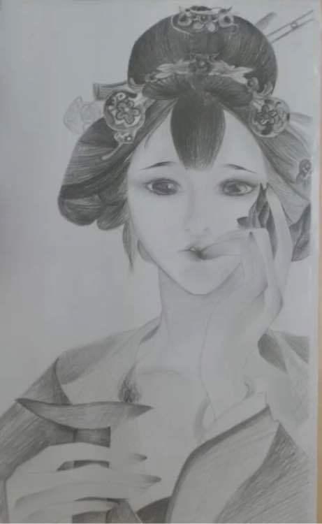 谁有手绘古风美女图片?