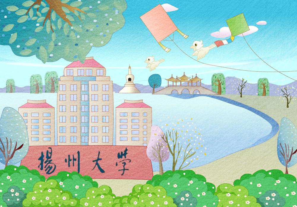 手绘扬州风景儿童画