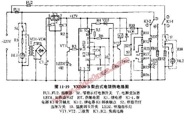 下图是某型号220v电饼铛电路图.为方便叙述,一气以其为例.